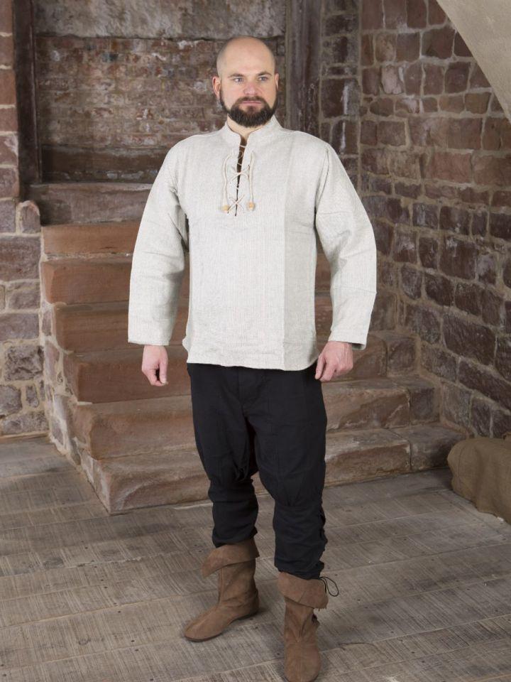 Winterhemd - Stehkragenhemd grau meliert M 6