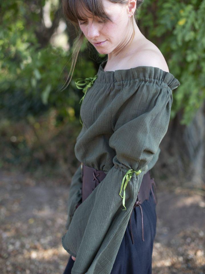 Mittelalterbluse mit Trompetenärmeln olivgrün 6