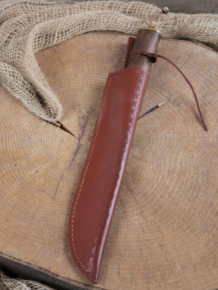 Messer mit Holzgriff u. Lederscheide 6