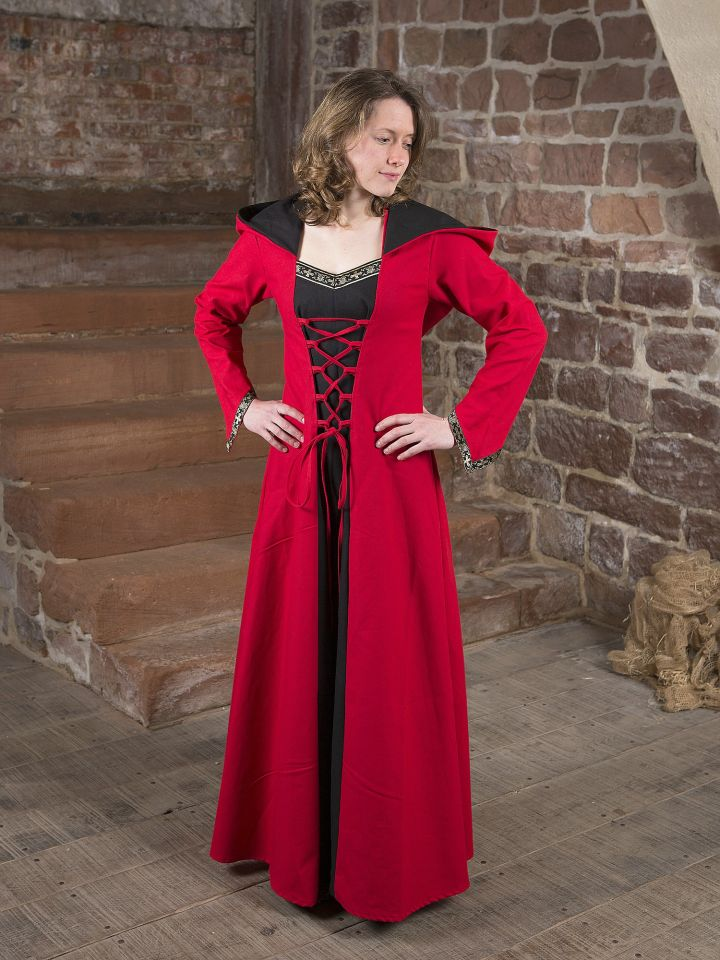 Mittelalterkleid Gwenhwyfar schwarz-rot 6