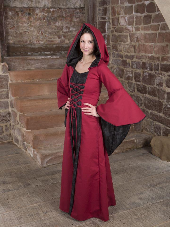 Mittelalterkleid Evanna schwarz-rot 6