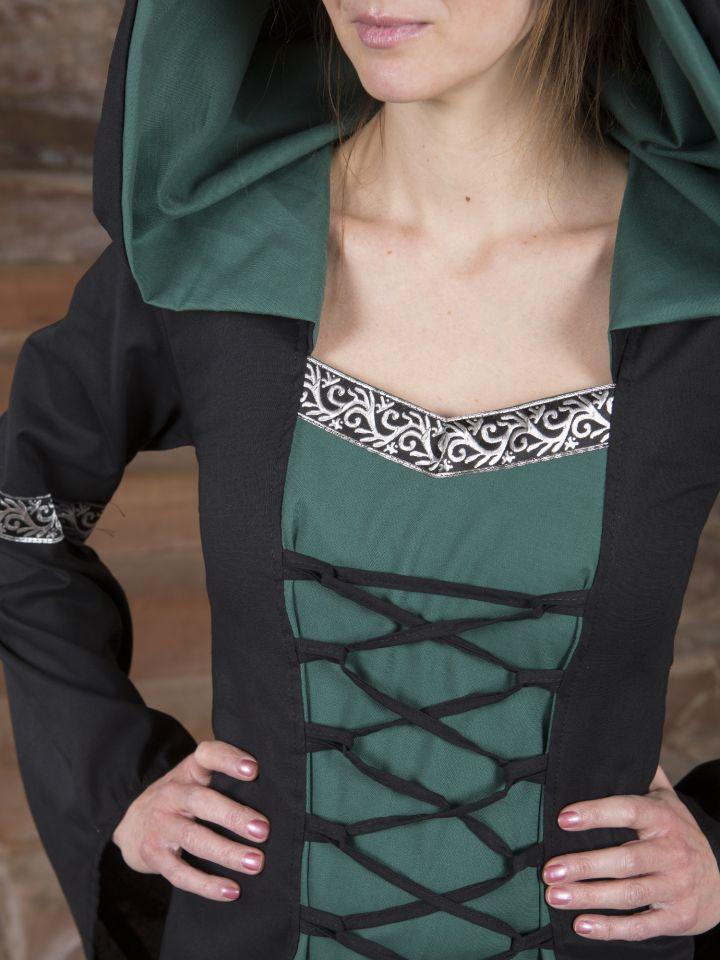 Mittelalterkleid Helena schwarz-grün 6