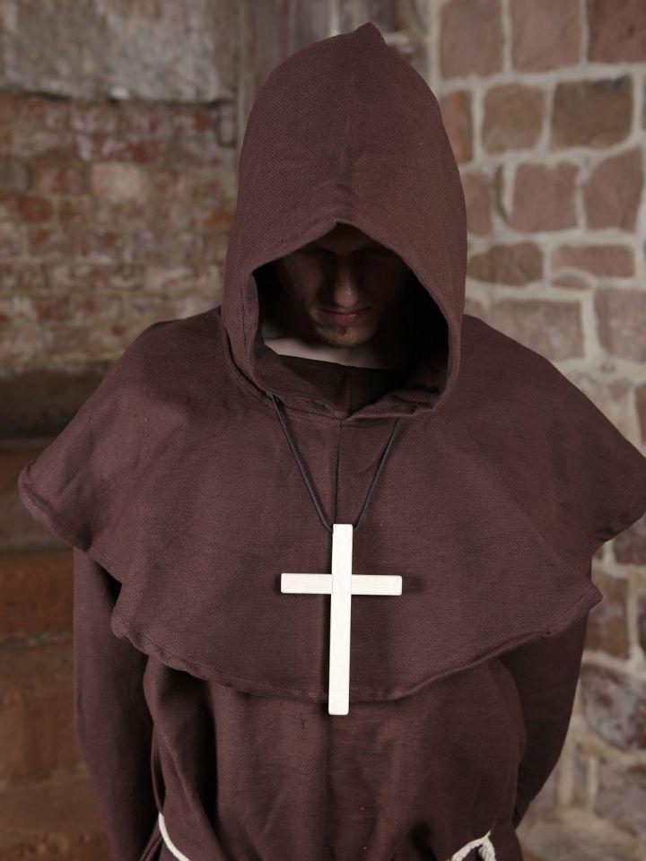 Mönchskutte (mit Kapuze und Seil) braun   mit Kreuz 7