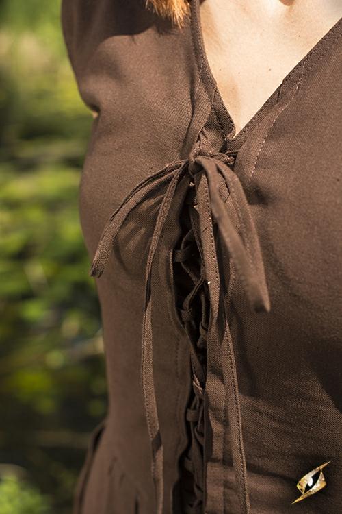 Schlichtes Schnürkleid dunkelbraun L 7