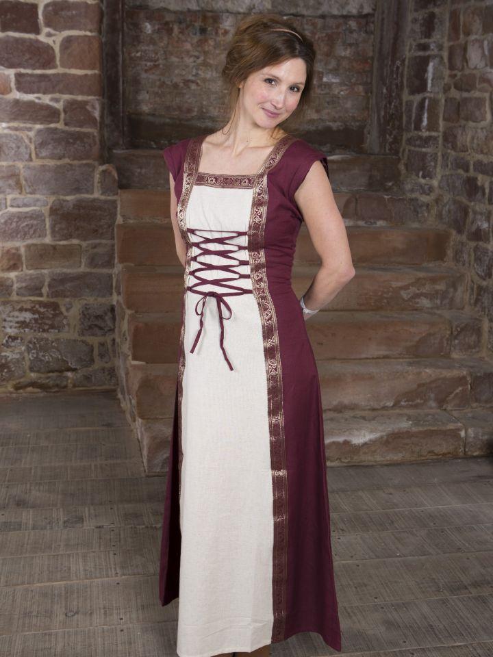 Mittelalterkleid mit abnehmbaren Ärmeln rot-natur 7