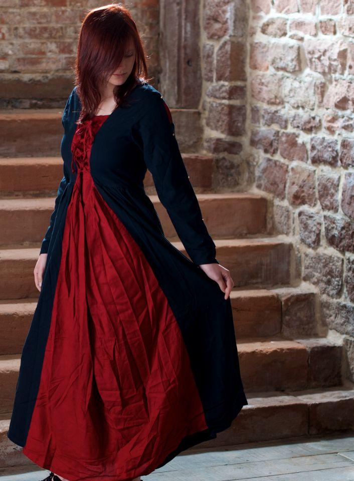 Mittelalterkleid aus Baumwolle schwarz-rot 7