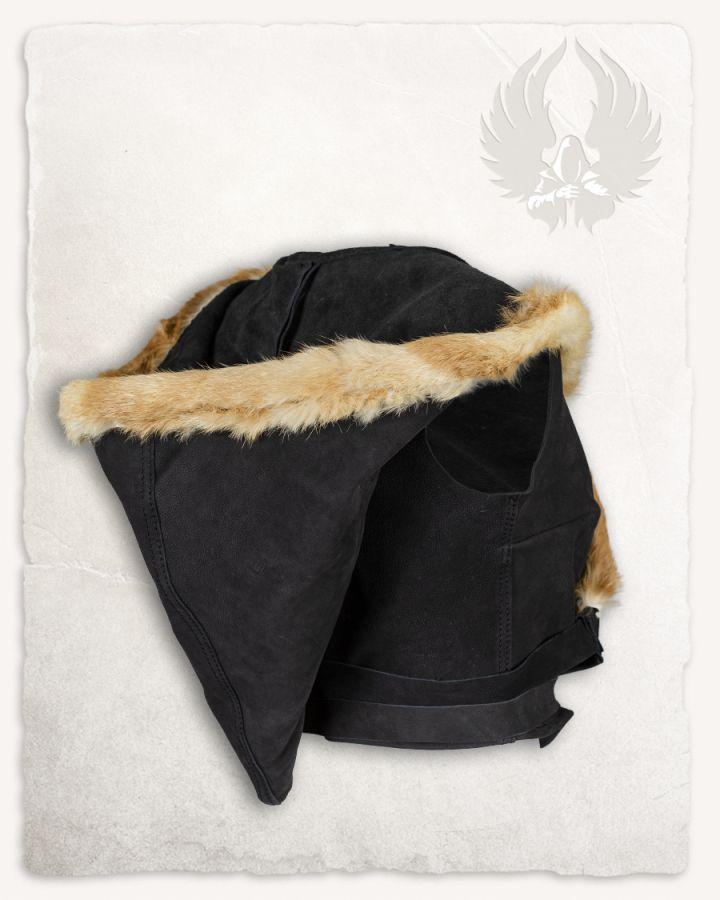 Kapuzentop aus Leder schwarz 7