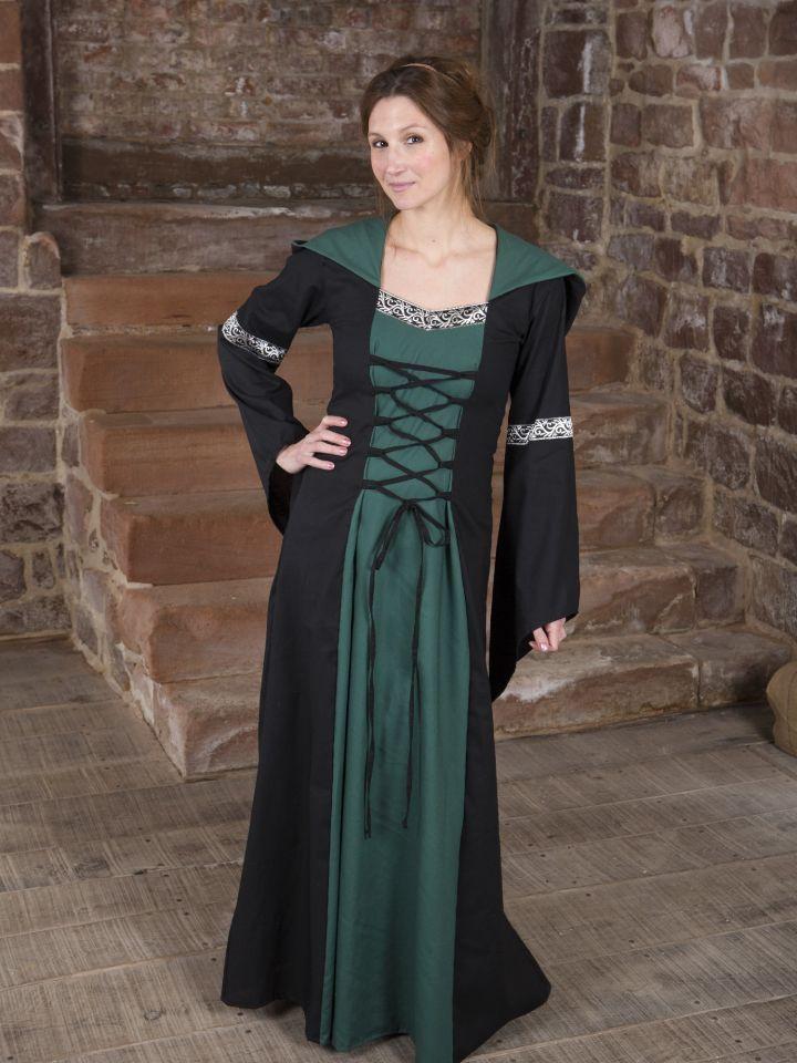 Mittelalterkleid Helena schwarz-grün 7