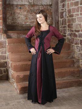 Kleid zweifarbig mit Schnürung in schwarz-bordeaux L/XL