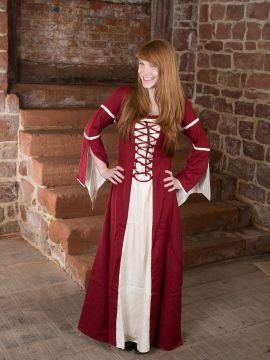 Kleid mit Trompetenärmeln, natur-rot M