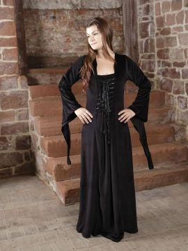 Samtkleid - Abendkleid, Mittelalter, Halloween in schwarz XXXL