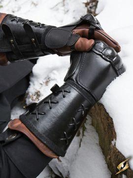 Schwarzer Panzerhandschuh aus Leder für die rechte Hand