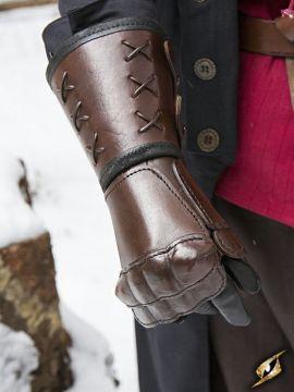 Brauner Panzerhandschuh aus Leder für die linke Hand