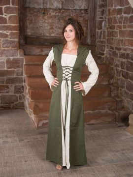 Mittelalterkleid mit Kapuze in natur-oliv XXL