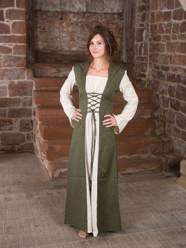 Mittelalterkleid mit Kapuze in natur-oliv S/M