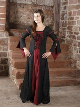 Mittelalterkleid aus Viskose schwarz-rot S