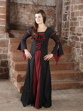 Mittelalterkleid aus Viskose schwarz-rot M