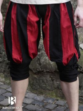 kurze Landsknechthose Maximilian, schwarz/rot M