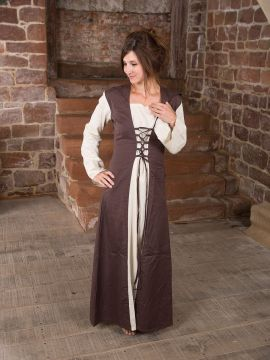 Mittelalterkleid mit Kapuze in natur-braun S/M