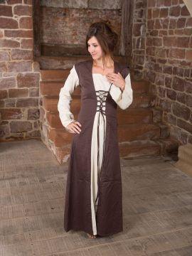 Mittelalterkleid mit Kapuze in natur-braun XXL