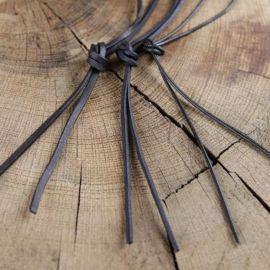 Lederriemen,  1 Meter rund oder rechteckig  | schwarz - vierkant