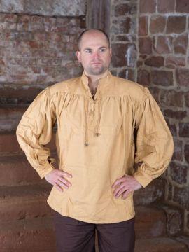 Mittelalterhemd aus dickem Stoff honigbraun L