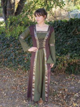 Mittelalterkleid mit abnehmbaren Ärmeln oliv-braun S/M