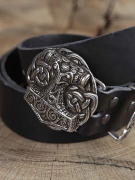 Ledergürtel mit Thorshammer-Schnalle schwarz
