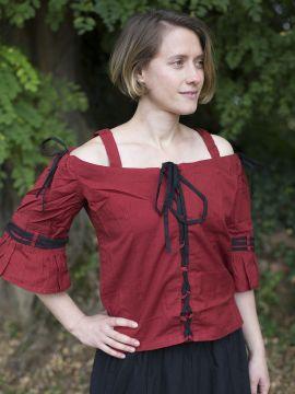 Bluse mit verstellbaren Trägern, rot-schwarz S