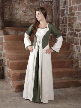 Kleid zweifarbig mit Schnürung in natur-olive L/XL