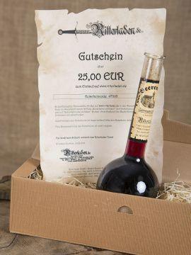 Geschenkbox mit Gewürzwein und Einkaufsgutschein Gewürzwein + Gutschein