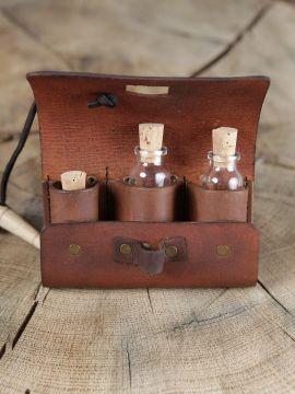 Tranktasche mit 3 Flaschen braun