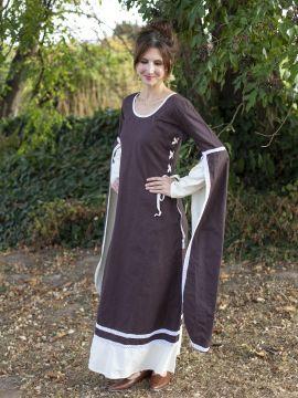 Mittelalterkleid mit Schleppärmeln braun-natur S/M