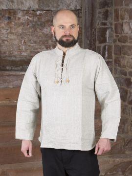 Winterhemd - Stehkragenhemd grau meliert L