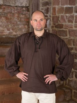 Baumwollhemd mit Kragen braun M
