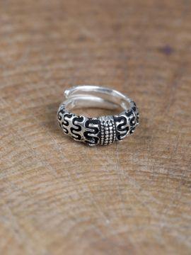 """Wikinger-Ring """"Falster"""" versilbert L"""