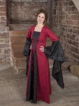 Mittelalterkleid Marlene schwarz-rot 48