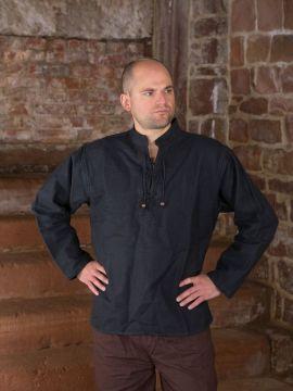 Winterhemd - Stehkragenhemd schwarz S