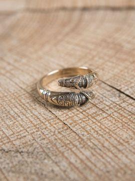 Drachenkopfring aus Bronze groß