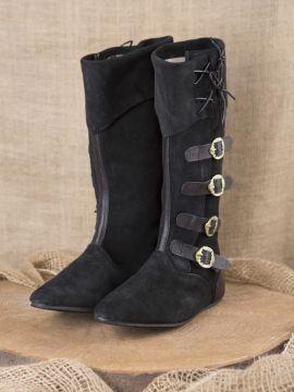 Mittelalter Stiefel mit Schnallen schwarz 45