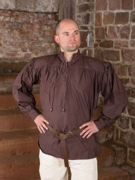 Mittelalterhemd aus dickem Stoff dunkelbraun S