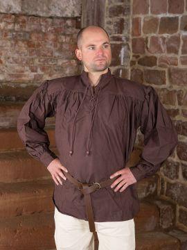 Mittelalterhemd aus dickem Stoff dunkelbraun XL