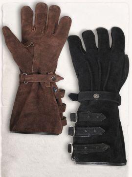 Stulpenhandschuhe mit Schnallen L | schwarz