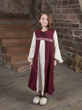 "Kinderkleid ""Piccolina"" rot-natur 128/134"
