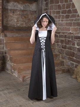 Mittelalterkleid Lucia schwarz-weiß 38