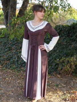Mittelalterkleid mit Stickerei braun-weiß