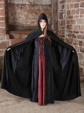 Kleid und Umhang Beltane - Walpurgis M | rot/schwarz | schwarz