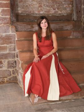Ärmelloses Kleid rostrot M