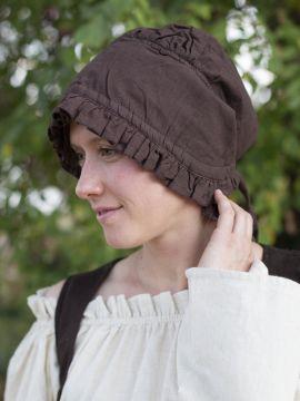 Damenhaube mit Rüsche braun