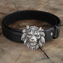 Ledergürtel Löwenkopf schwarz